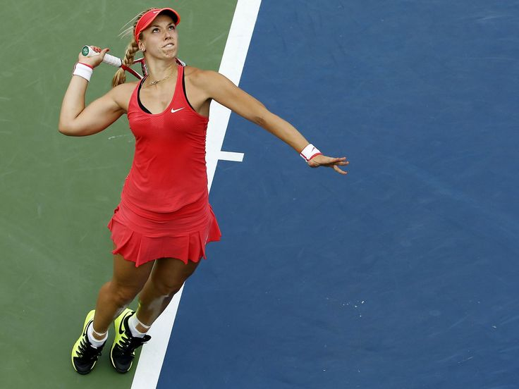 Sabine Lisicki lines up a serve during her second-round win against Camila Giorgi.  Geoff Burke, USA TODAY Sports