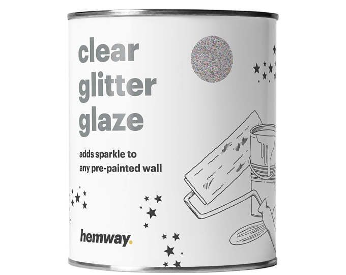 Hemway 1L Clear Glitter Paint Glaze for Pre-Painted Walls