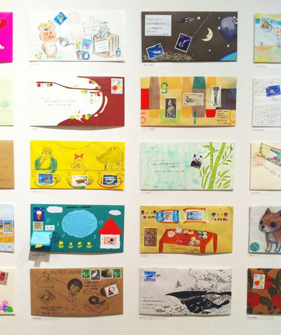 Artistic envelope exhibit in Japan, stamps are incorporated into the art. How fun!  hello sandwich: おたより Exhibition