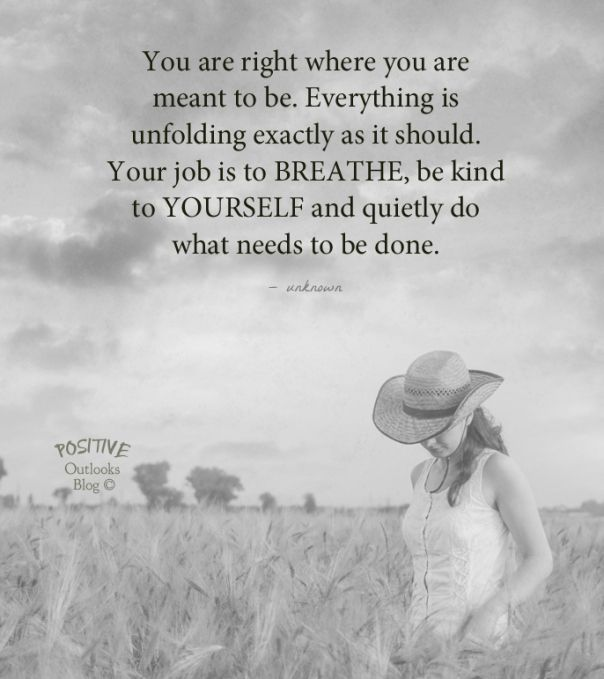 You are right where you are meant to be. Everything is unfolding exactly as it should. Your job is to breathe, be kind to yourself and quietly do what needs to be done.