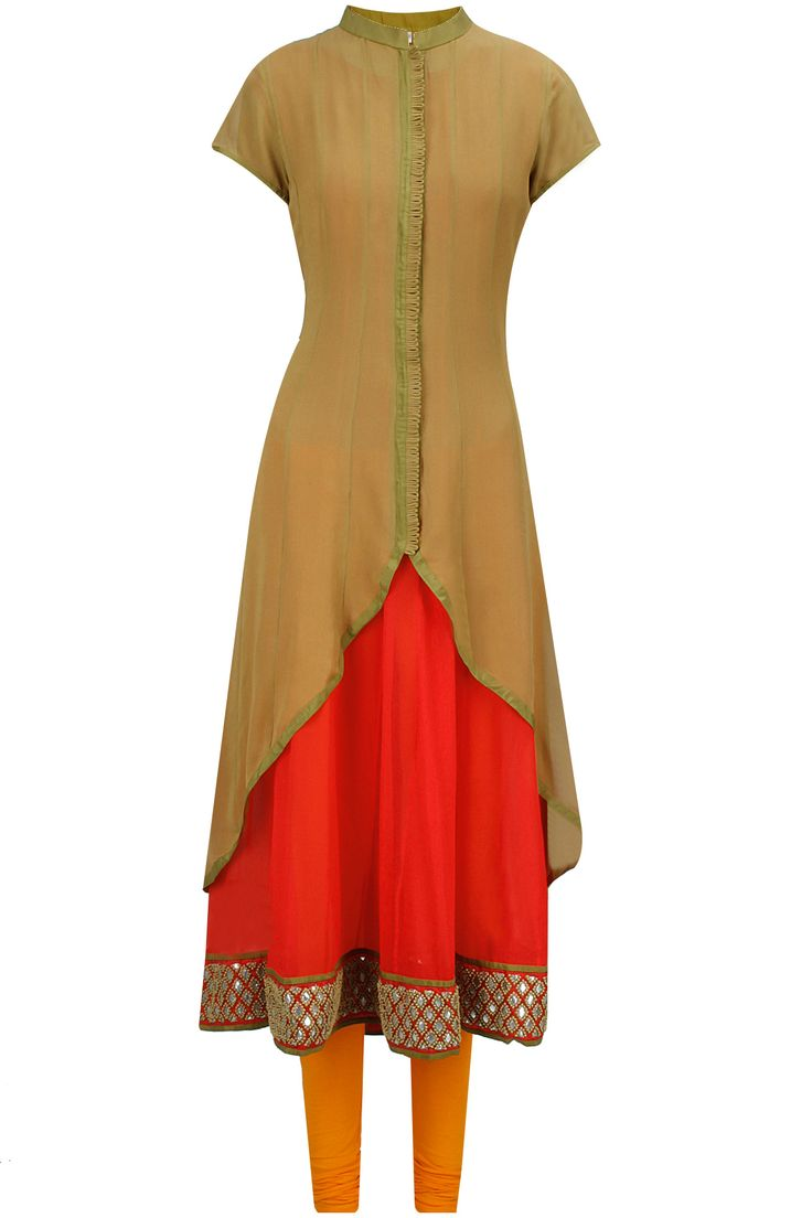 Vasavi Shah presents Olive green and red gota embroidered three piece kurta set available .