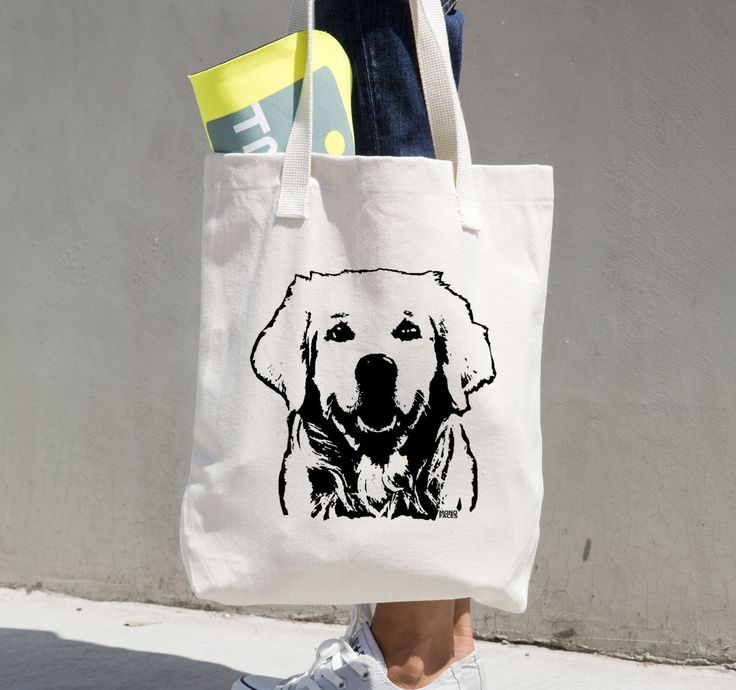 Golden Retriever Tote Bag, Golden Retriever Gifts, Dog Groomer Gift, Dog Themed Gifts, Personalised Canvas Tote, Reusable Grocery Tote by MONOFACESoADULT on Etsy