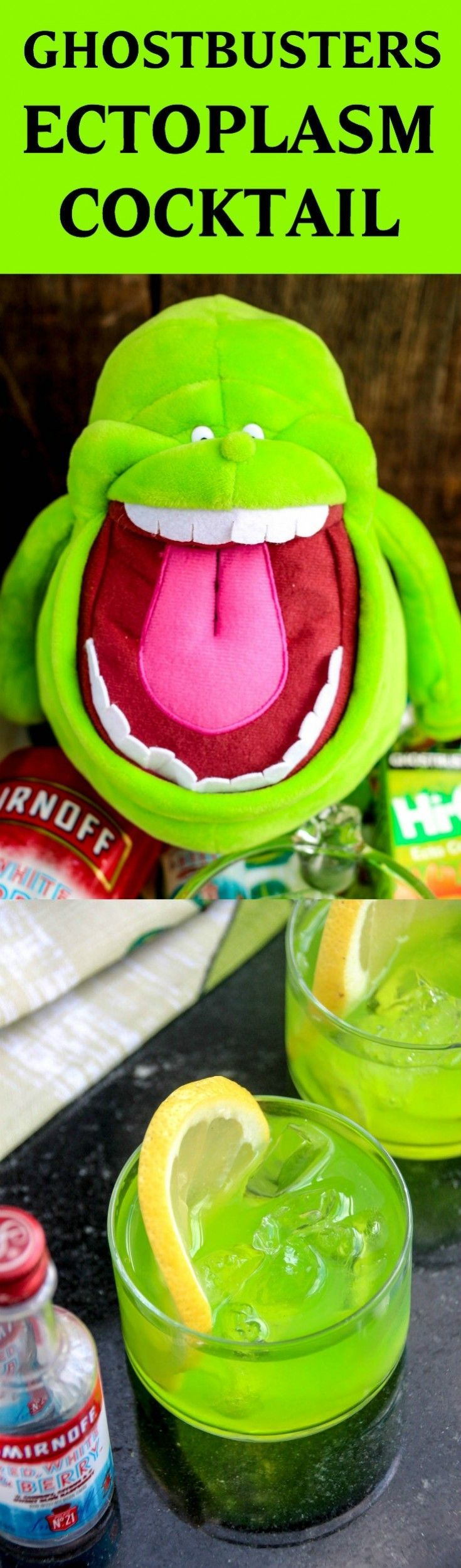 Ectoplasm has never been this delicious! These Ghostbusters Slimer themed vodka cocktails are so fun – and tasty too. Make for a movie watching party! via @diy_candy