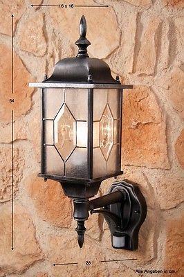 Design Wandlampe Wandleuchte Außenleuchte Alu Außenlampe mit Bewegungsmelder NEU