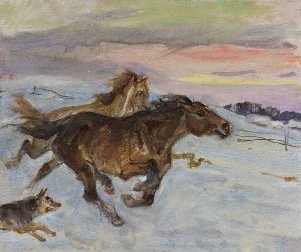 Ucieczka koni przed wilkiem - Wojciech Kossak