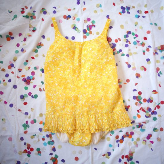 Vintage 60s Bright Yellow One Piece Swimsuit by AlteredStatesAu, $39.00