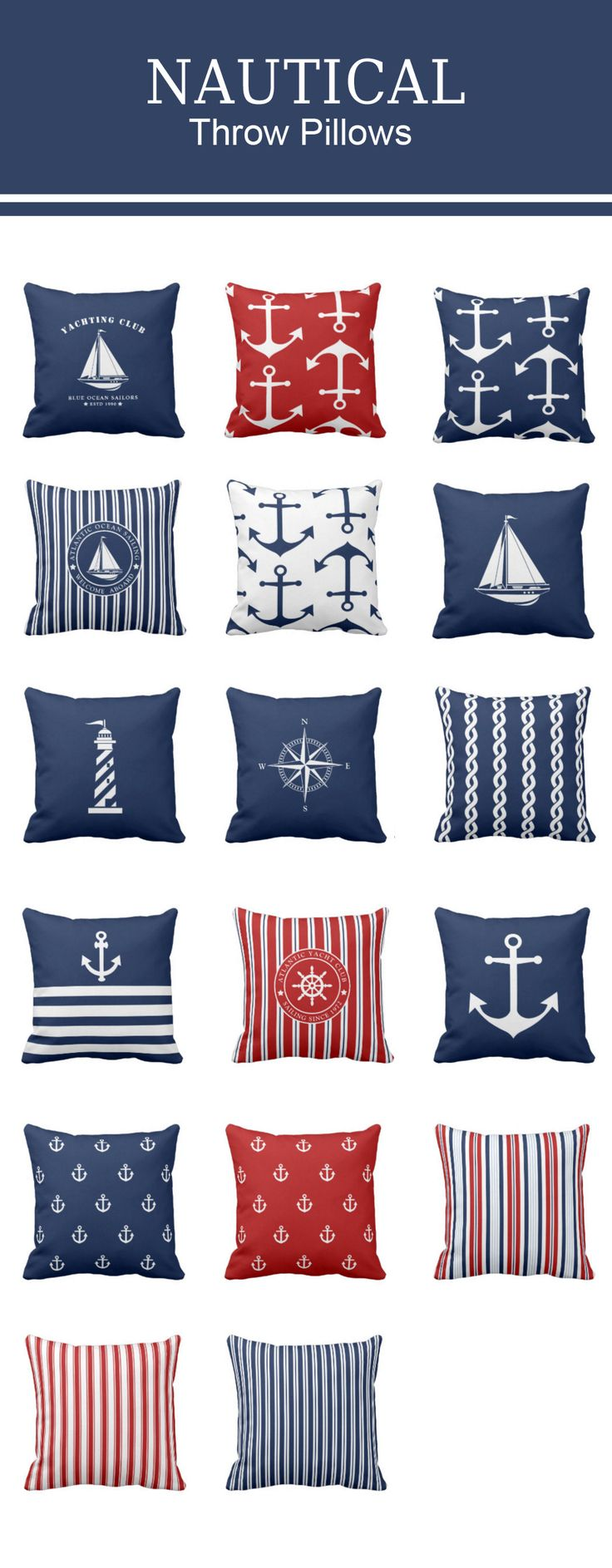 Nautical throw pillows with stripes, anchors, sailing boats, lighthouse - navy blue, white or nautical red. #nautical #pillows #decor #anchor