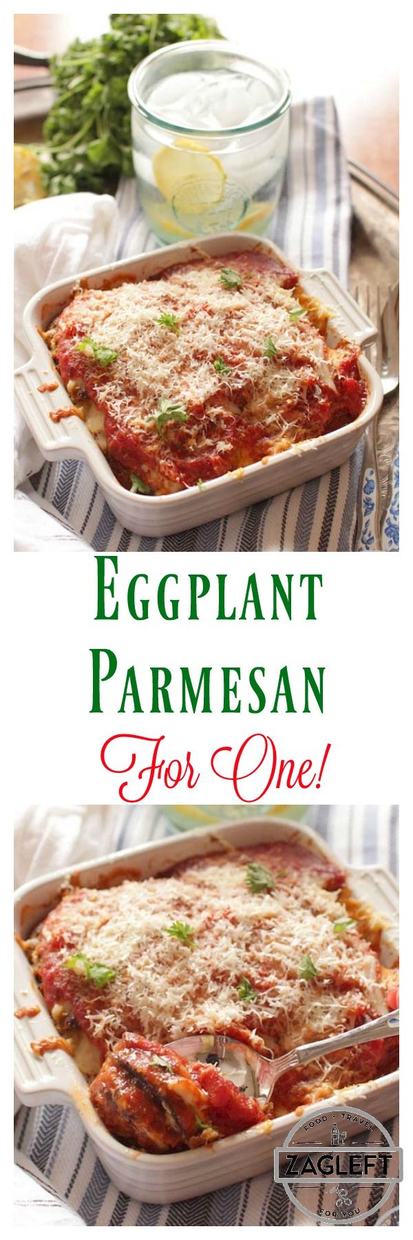Eggplant Parmesan For One, layers of lightly breaded eggplant slices, melted mozzarella cheese and tomato sauce. An easy recipe and a delicious meal for those cooking for one. | zagleft.com