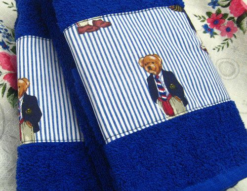 Custom Decorated Pair Hand Towels -  Ralph Lauren Fabric POLO TEDDY  - Royal Blue Hand Towels