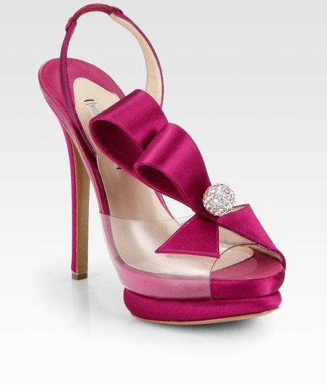 Fuschia Wedding Shoes: Nicholas Kirkwood Satin Bow Slingback Sandals In Fuchsia