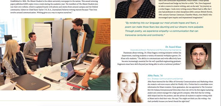 """Featured in """"Writing at Miami"""" brochure, a recruitment tool for writing programs at Miami University. http://miamioh.edu/_files/documents/howe/writing-at-miami-brochure508.pdf"""