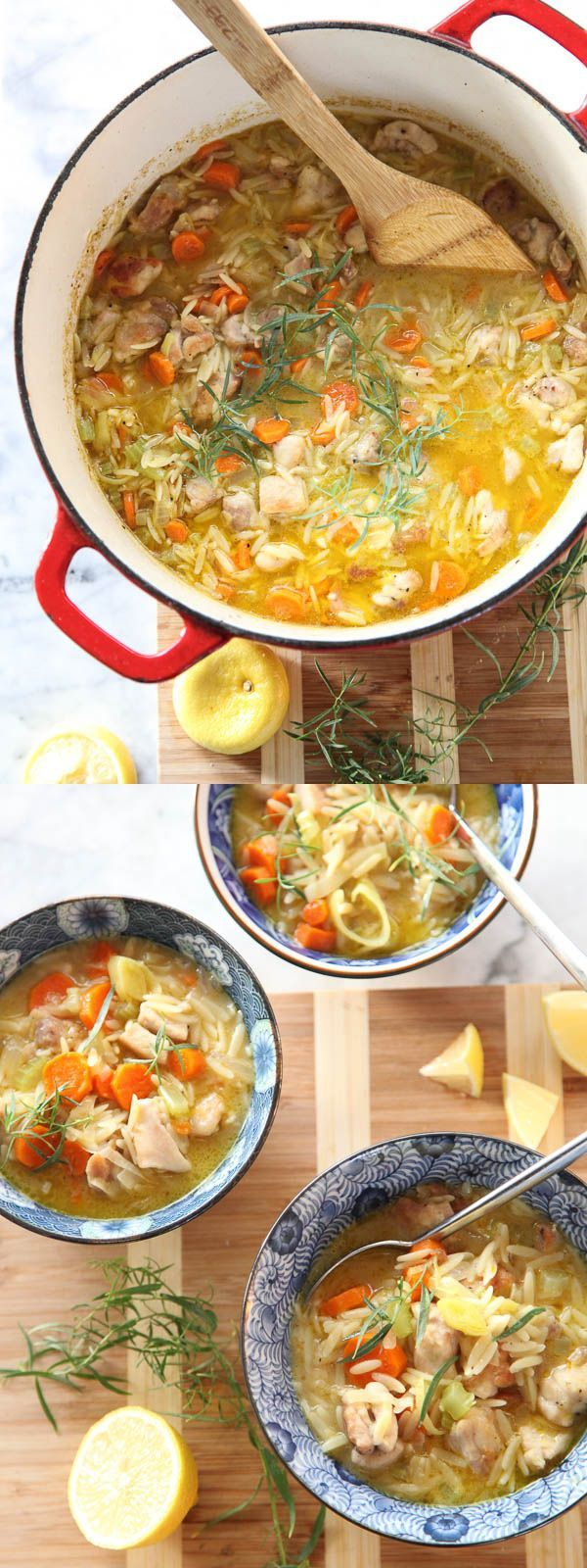 This is a true one-pot meal packed with veggies, chicken and lemony orzo pasta. No wonder it's one of the most popular recipes on foodiecrush.com #soup #orzo