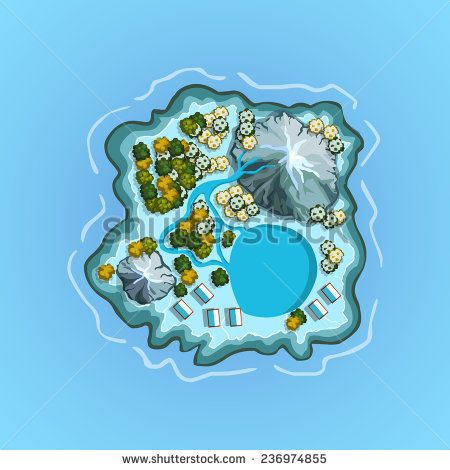 Top view island sprite. Vector game design for app
