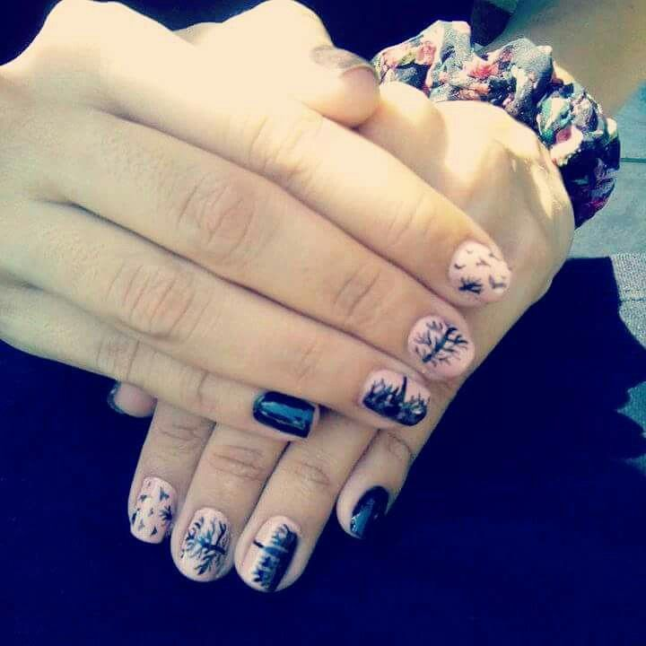 #nailart #naildesign #trees #birds #nature #themed #nails #black #nude