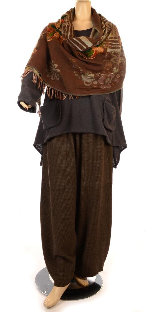 The Exquisite Scrumptious Brown Hand Embroidered Wool Wrap/Scarf--looks so cozy/chic!