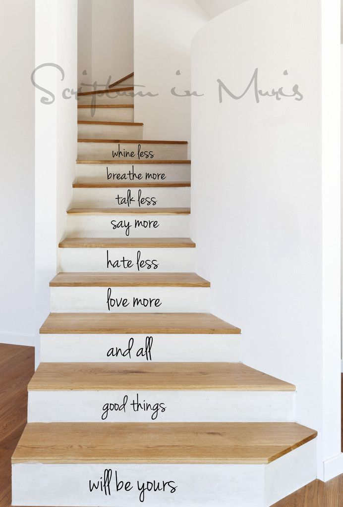 Foyer Stairs Quote : All good things stairs decal love the chang e and i