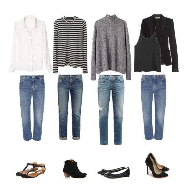 how to style boyfriend jeans: white button-up shirt, black and white striped shirt, grey wool sweater, black blazer and tank top, sandals, ankle boots, ballet flats, killer pumps.