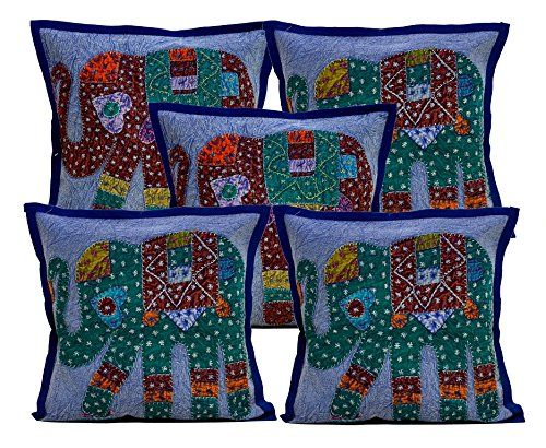 5 Dark Blue Applique Patchwork Ethnic Indian Elephant Throw Pillow Cushion Covers Krishna Mart India http://www.amazon.com/dp/B011RKNETA/ref=cm_sw_r_pi_dp_HCaywb1VSEXKR