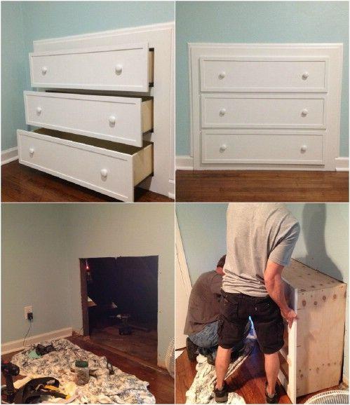 Built in dresser into Slanted Walls