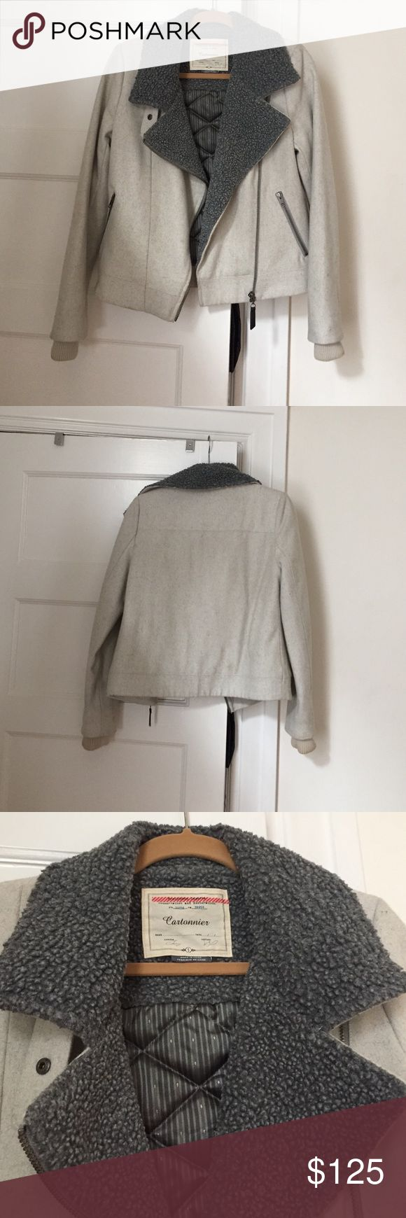 Anthropologie Wool bomber jacket Size small, cream and grey wool bomber jacket. Amazing fall piece! Anthropologie Jackets & Coats