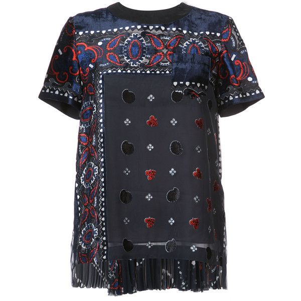 Sacai Paisley Velvet Applique Blouse ($911) ❤ liked on Polyvore featuring tops, blouses, short-sleeve blouse, see through blouse, sheer tops, feather blouse and pleated blouse