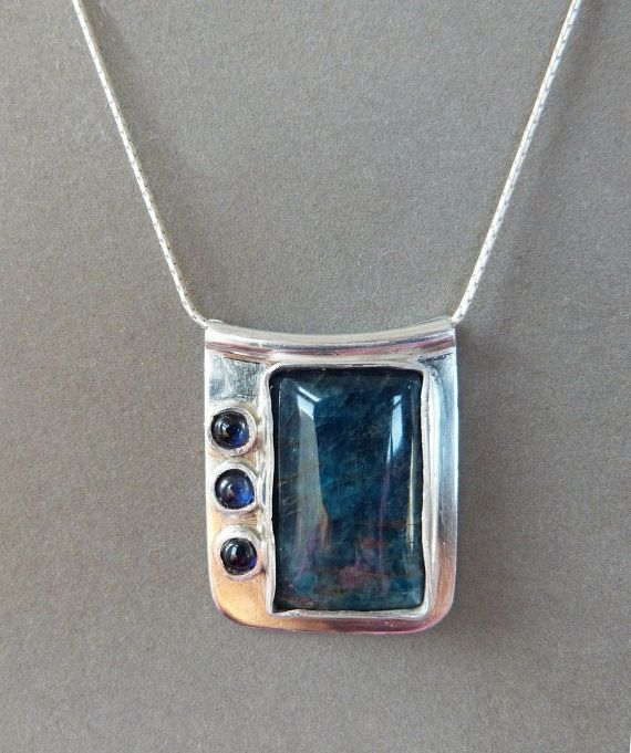 Blue Green Apatite Pendant Necklace w Sapphires, Sterling Silver  https://www.etsy.com/listing/169884696/blue-green-apatite-pendant-necklace-w?ref=shop_home_feat