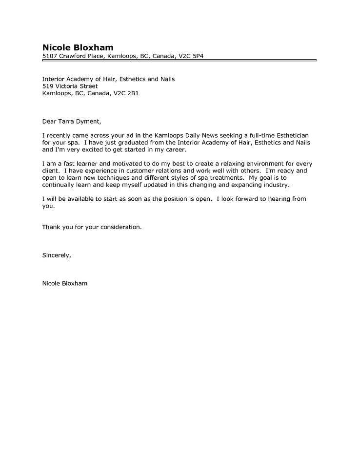 cover letter for esthetician position esthetician cover letter