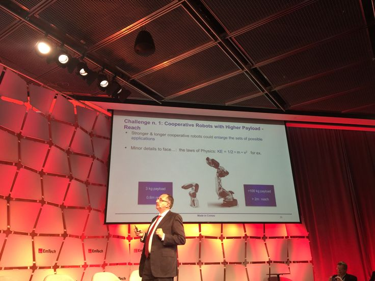 """We are very proud to announce that #Comau, through our very own Arturo Baroncelli, was among the speakers at the prestigious MIT (Massachusetts Institute of Technology) Technology Review #EmTech event. He gave a keynote speech, in addition to participating within the """"Robots Among Us"""" session. http://ow.ly/Utphp"""