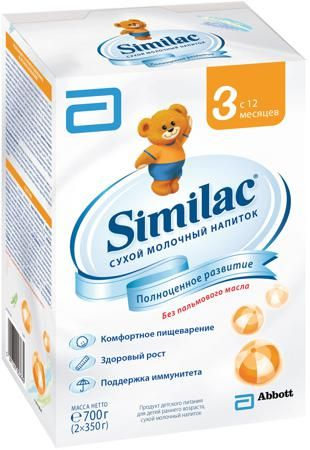 Similac (Abbott) 3 (с 12 месяцев) 700 г  — 483р. --------------- Молочный напиток Similac 3 с 12 мес. 700 г. Сухой молочный напиток для детей раннего возраста без пальмового масла для полноценного развития малыша. Содержит пребиотики, способствующие формированию мягкого стула. Без пальмового масла - нежно воздействует на кишечник, способствует формированию мягкого стула и более высокому усвоению кальция. Смесь специально разработана для хорошего усвоения. Смесь содержит незаменимые жирные…