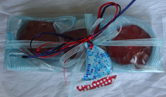 Nautical Style -  Handmade Gift Set with 3 Scented Luxury Soaps in dark Red Color and Red Grape perfume and a special handmade glass decorative boat in the packaging. The glass decorative Boat can be used as Necklace.