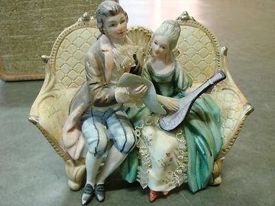 Antique Norleans Bisque Ceramic Victorian Couple Statue Figurine Beautiful Half Dolls