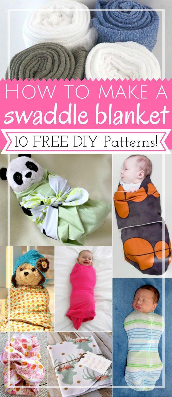 How to Make a swaddle blanket: 10 free DIY patterns | DIY baby | no sew | free pattern | shower gifts | fabrics: muslin, jersey | tutorials | newborns