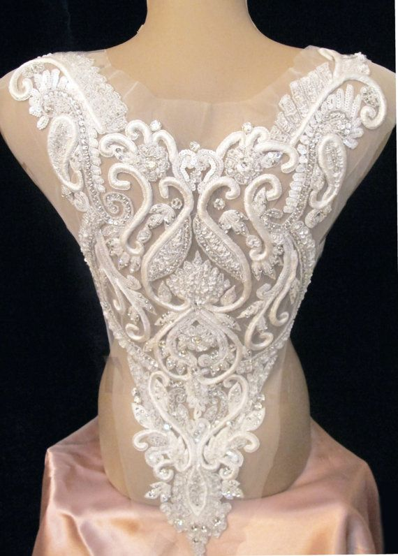 Rhinestone Applique for Backless Gown Open Back by gebridal
