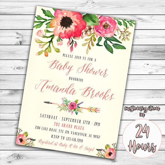 12 best images about invitation ideras on pinterest | watercolors, Baby shower invitations