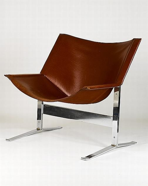 Designer Sling Chairs: Clement Meadmore; #248 Chromed Steel And Leather Sling