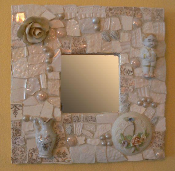 Winter Whites Pique Assiette Mosaic Mirror Broken by PamelasPieces, $60.00