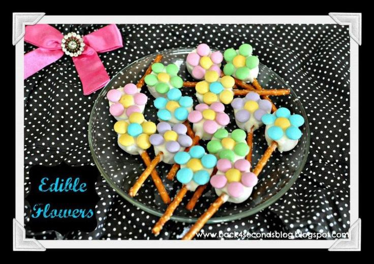 Edible flowers  Pretzels, marshmellows dipped in white choc, M's - enjoy