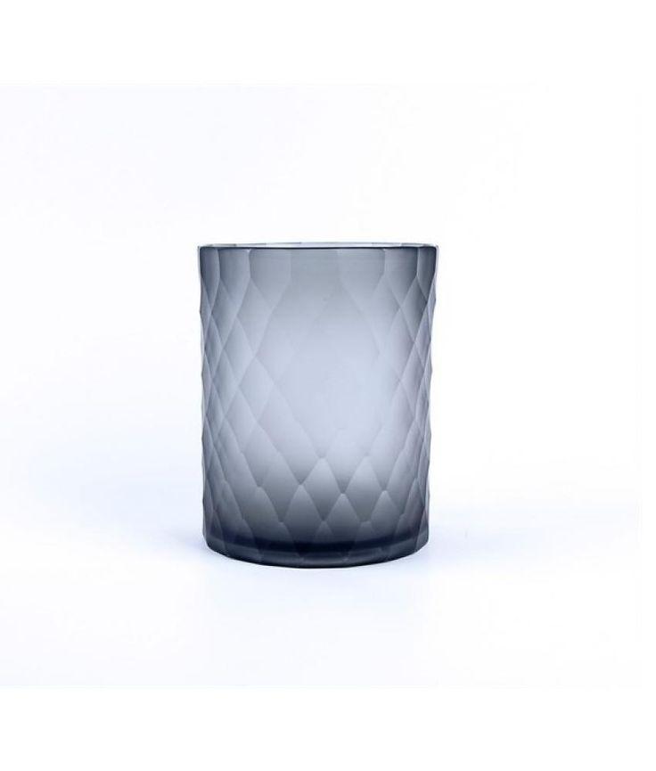 Van Roon Living Waxinelichthouder Ava 13x16 cm dark grey glass