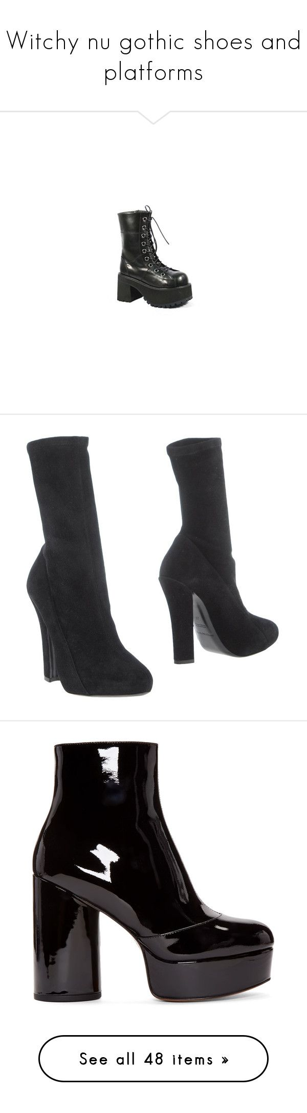 """""""Witchy nu gothic shoes and platforms"""" by giselle123456 on Polyvore featuring shoes, boots, army boots, gothic platform boots, lace up combat boots, chunky heel platform boots, chunky heel lace up boots, ankle booties, heels y black"""