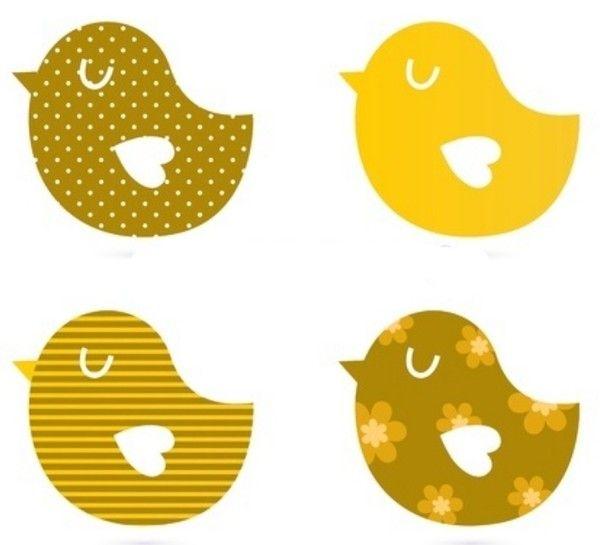 Gabarit - Oiseaux jaunes pour arbre à oiseaux
