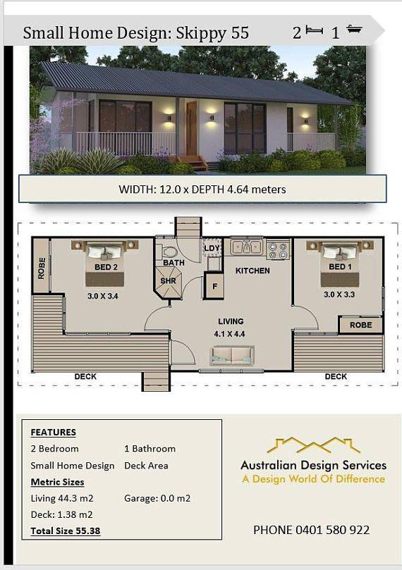 55 M2 Or 592 Sq Foot 2 Bedroom Small Home Design Etsy Small