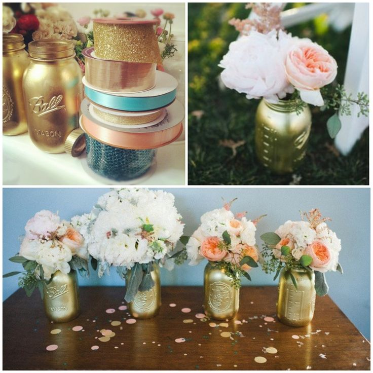 pictures of wedding centerpieces using mason jars%0A DIY Gold Mason Jars