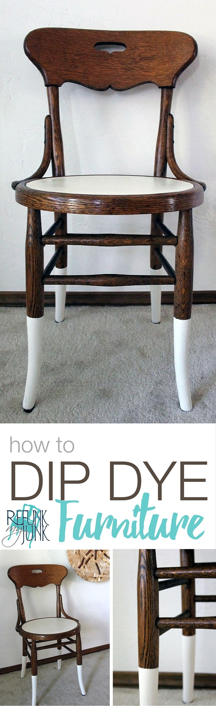 How to Dip Dye Furniture! It's a modern look and very simple! More Painted Furniture Ideas by Refunk My Junk