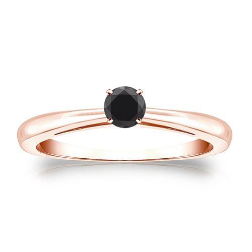 0.25 Karat schwarzer Solitär Diamant Ring 585/14K Rosegold  #diamantring #weissgold #gelbgold #rosegold #schwarzer_diamant #verlobung #juwelier #abt #dortmund