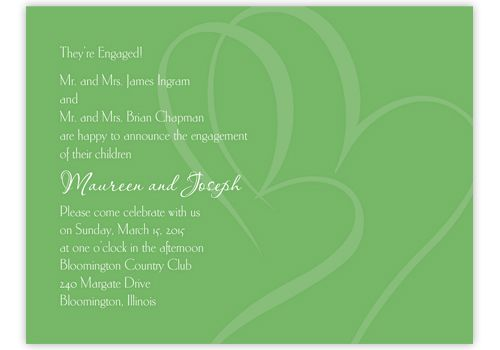 Engagement party invitations  Screened hearts on a clover background are simply beautiful! Your wording is featured in white dropout ink. by Wedding Invitations -The Office Gal