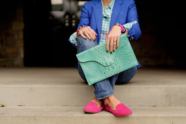 b l u e s + p i n k s: Fashion Work, Glam Accessories, Blue, Loafers Heavens, Colors Combos Prints, Fashion Fantasy, Pink Gingham, Bright Style, Colors Blocks