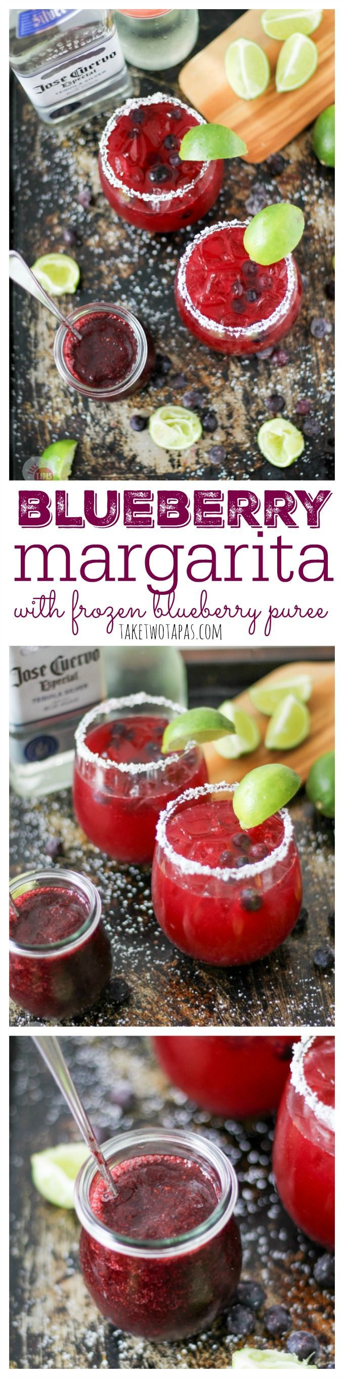 Blueberries are in season! If you don't have fresh ones yet, grab your frozen ones from the last harvest, your tequila and your limes to whip up a Blueberry Margarita! Blueberry margarita Recipe | Take Two Tapas