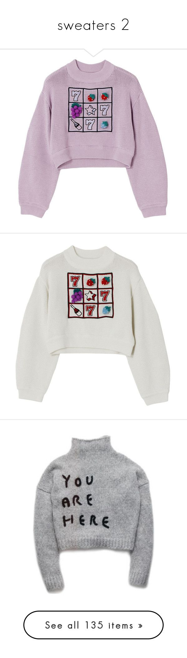 """""""sweaters 2"""" by kittensoft ❤ liked on Polyvore featuring tops, sweaters, jumpers, sweatshirts, purple jumper, purple sweater, purple top, white, white top and white sweater"""