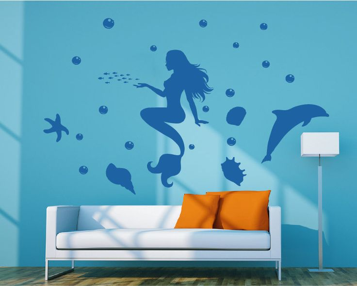 kik73 Wall Decal Sticker Mermaid Marine Sea Siren Dolphin children's bedroom