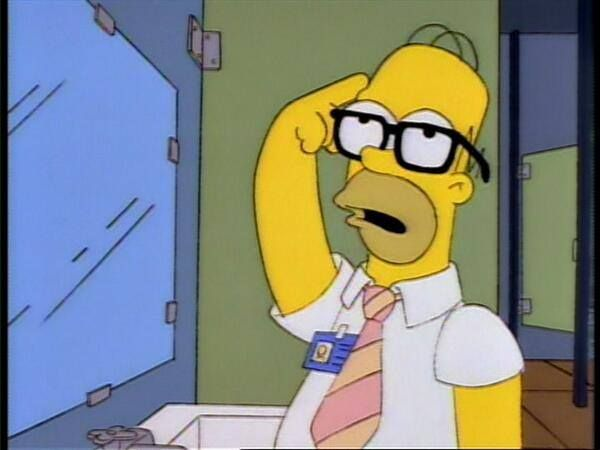 Homer: The sum of the square roots of any two sides of an isosceles triangle is equal to the square root of the remaining side.  Man in stall: That's a right triangle, ya idiot!  Homer: D'oh!